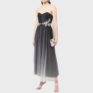 NWT Marchesa Notte Black Ombre Strapless Gown